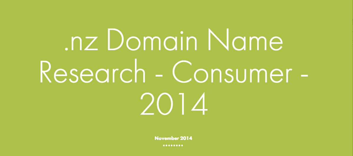2014 Consumer Research .nz domain names